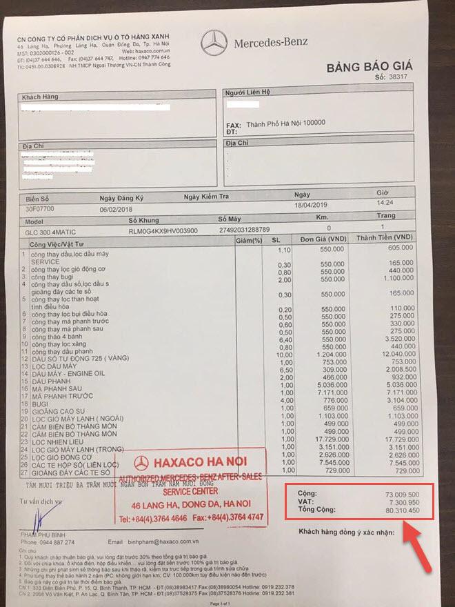 chi phí bảo dưỡng xe Mercedes cũ trong đại lý chính hãng